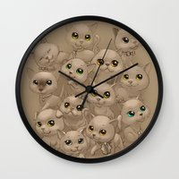 kittens Wall Clocks featuring Kittens by Antracit