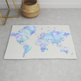Fluid alcohol ink world map, high detail, Arella Rug