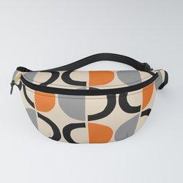 Mid Century Modern Half Circle Pattern 548 Beige Black Gray and Orange Fanny Pack