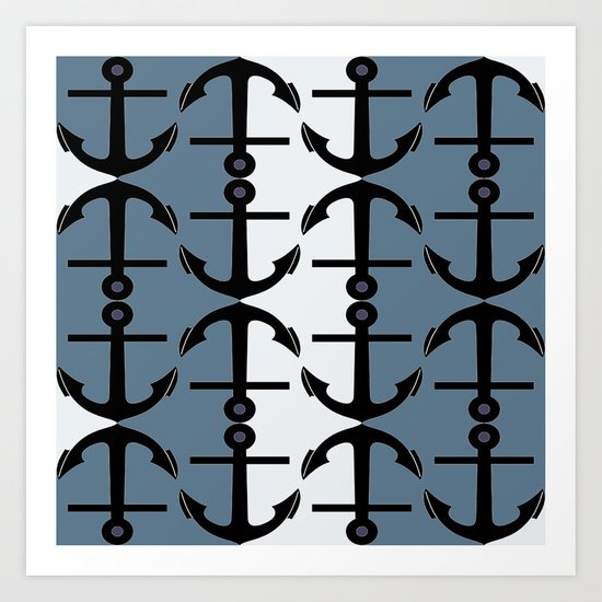 Anchors: Teal, White and Perrywinkle Art Print