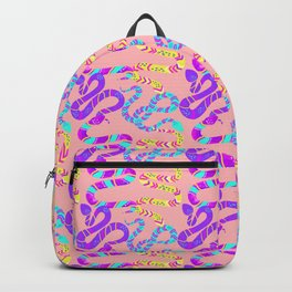 Neon Snakes on Pink Backpack