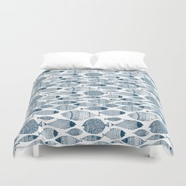 Blue Fish White Duvet Cover