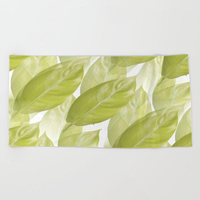 Green leaves #decor #society6 Beach Towel
