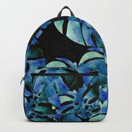 Monstera Pattern Blue On Chalkboard Backpack