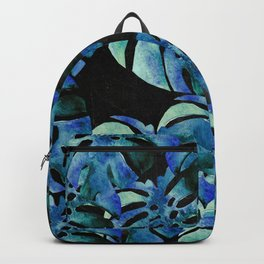 Monstera Pattern Blue On Chalkboard Backpack
