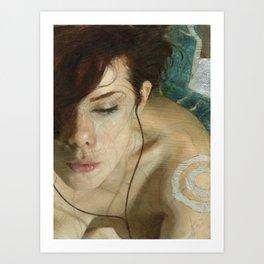 Woman Portrait Listening with Earphones Female Figurative Painting Art Print