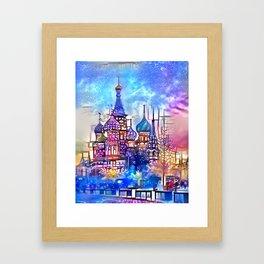 Twilight Stained Glass Saint Basil's Framed Art Print