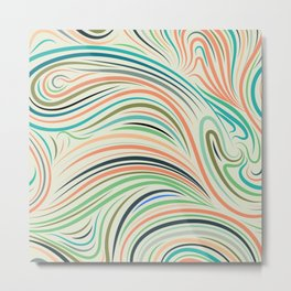 Multicolor abstract wavy lines pattern Metal Print