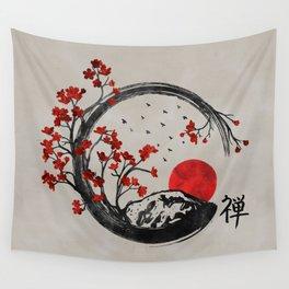 Zen Enso Circle and Sakura Branches Wall Tapestry