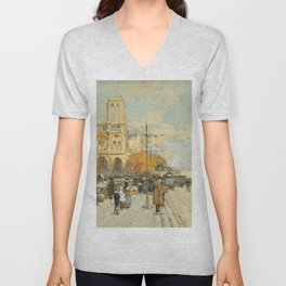 Figures on a Sunny Parisian Street, Notre Dame by Eugene Galien Laloue Unisex V-Neck