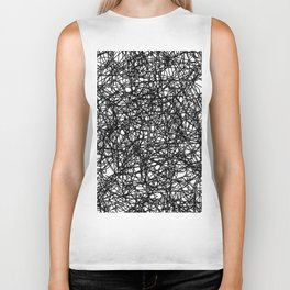 Angry Scribbles - Black and white, abstract, black ink scribbles pattern Biker Tank