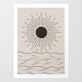 Sun and ocean Art Print