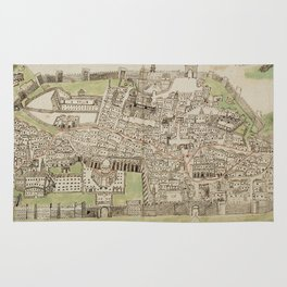 Vintage Map of Jerusalem Israel (16th Century) Rug