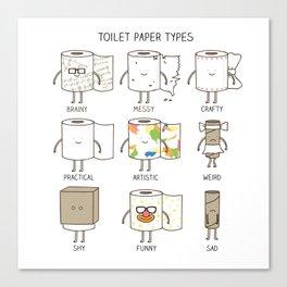 toilet paper types Canvas Print