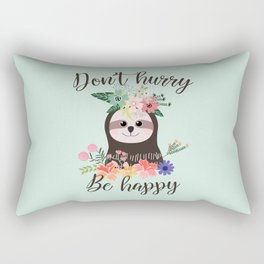 SLOTH ADVICE (mint green) - DON'T HURRY, BE HAPPY! Rectangular Pillow