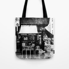Snow falling in the West End Tote Bag
