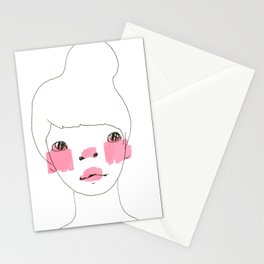 Line Drawing of a Girl in Neon  Stationery Cards