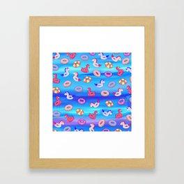 Cute Artsy Pink Blue Pool Floaties Watercolor Framed Art Print