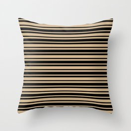 Tan Brown and Black Horizontal Var Size Stripes Throw Pillow