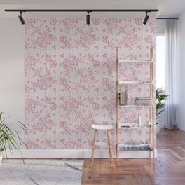 Elegant stylish dusty pink white floral lace Wall Mural