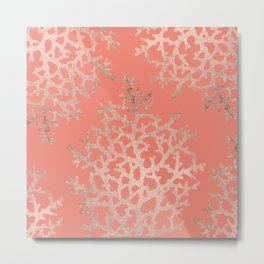 Faux rose gold coral sea hand drawn pattern salmon pattern Metal Print