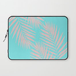 Abstract modern pink Tropical Exotic Palm Leaves on aqua Laptop Sleeve