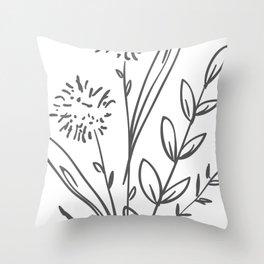 Line Art of Flowers 2 Throw Pillow