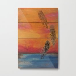 Rising Sun. My Orginal Abstract Painting by Jodilynpaintings. Abstract Sunset With Feathers. Beach Metal Print