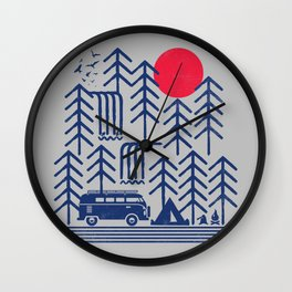Camping Days / Van nature minimal birds sun Wall Clock