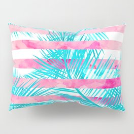 Modern pink turquoise tropical palm tree watercolor stripes pattern Pillow Sham