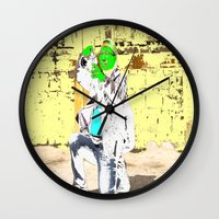 photographer Wall Clocks featuring Photographer by lookiz