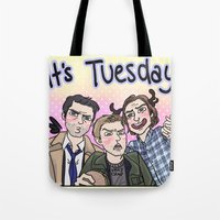 enerjax Tote Bags featuring It's Tuesday by enerjax