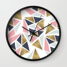 Modern geometrical pink navy blue gold triangles pattern Wall Clock