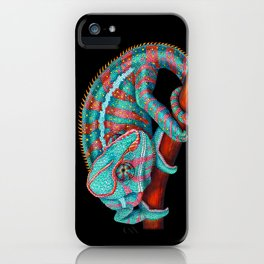 Panther Chameleon Turquoise Blue & Coral Red iPhone Case