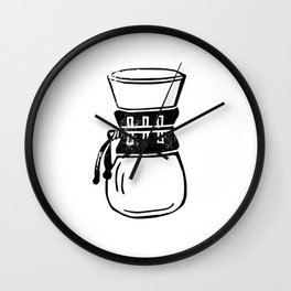 Chemex coffee maker linocut black and white kitchen food restaurant cafe art Wall Clock