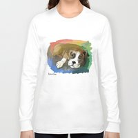 boxer Long Sleeve T-shirts featuring Boxer by Michelle Behar