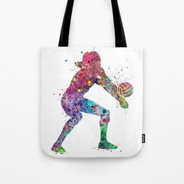 Volleyball Girl Watercolor Print Girls Room Decor Volleyball Poster Girl Volleyball Wall Art Tote Bag