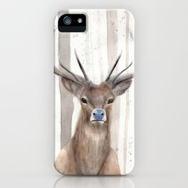 "Watercolor Painting of Picture ""Deer in Winter Forest"" iPhone Case"