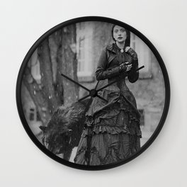 The Girl and the Big Bad Wolf black and white photograph Wall Clock