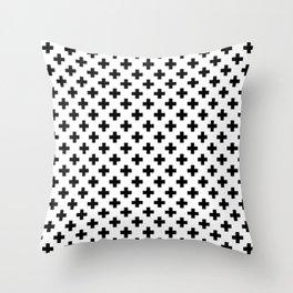 Black Crosses on White Throw Pillow