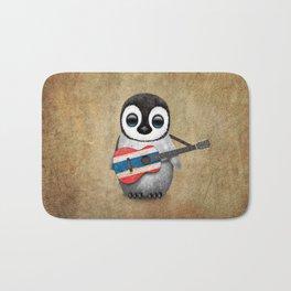 Baby Penguin Playing Thai Flag Guitar Bath Mat