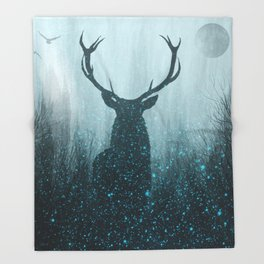 Snow Stag Silhouette Throw Blanket