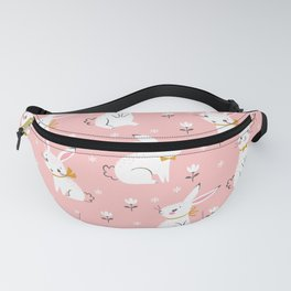 Seamless pattern of cute white rabbits Fanny Pack