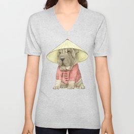 Shar Pei on the Great Wall Unisex V-Neck
