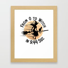 Halloween Running Sprinting Broom Witch for Women Light Framed Art Print