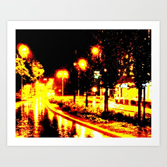 A Flaming Night Art Print