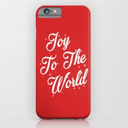 Joy To The World Christmas Red Background iPhone Case