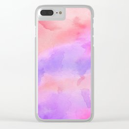 Hand painted pink violet coral abstract watercolor pattern Clear iPhone Case
