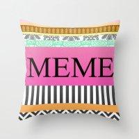 meme Throw Pillows featuring Meme by Be Raza