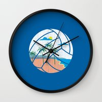 volleyball Wall Clocks featuring Beach Volleyball by Erik Sandi Satresa